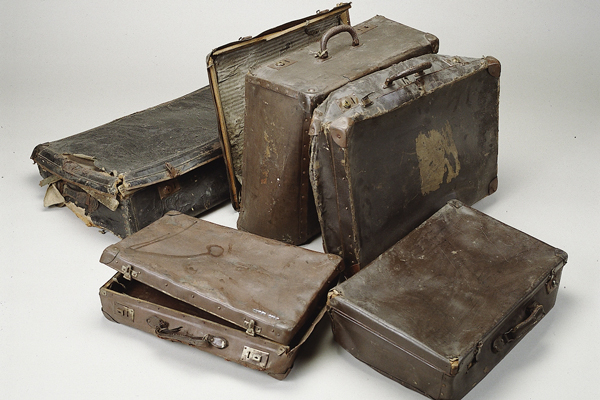 Suitcases confiscated from prisoners at the Auschwitz concentration camp, circa 1941–45. Panstwowe Muzeum Auschwitz-Birkenau w Oswiecimiu
