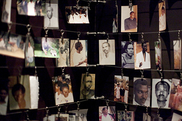 Photographs of people killed in the Rwandan genocide hang in the Kigali Genocide Memorial Museum. Laura Elizabeth Pohl for the US Holocaust Memorial Museum