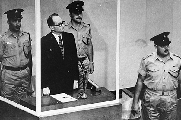 Nazi perpetrator Adolf Eichmann listens as the court declares him guilty on December 15, 1961. US Holocaust Memorial Museum, courtesy of Central Zionist Archives