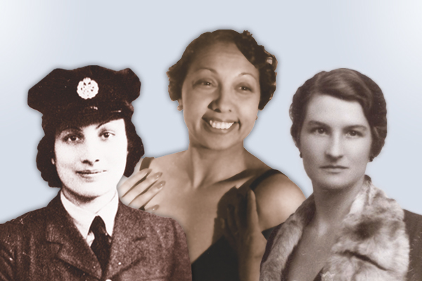 Left to right, Noor Inayat Khan (Imperial War Museums), Josephine Baker (Library of Congress), and Virginia Hall (Lorna Catling Collection).