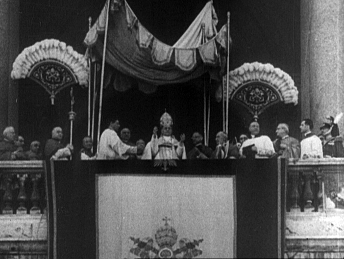 Film still from a 1939 Universal Newsreel showing Pope Pius XI on the balcony at the Basilica of Saint John Lateran in Rome. US Holocaust Memorial Museum, courtesy of National Archives & Records Administration