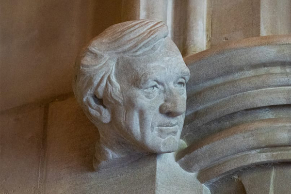 A carved stone bust of Holocaust survivor, author, and human rights champion Elie Wiesel joins likenesses of Rosa Parks and Eleanor Roosevelt, among others, on the Washington National Cathedral's Human Rights Porch. Danielle Thomas/Washington National Cathedral