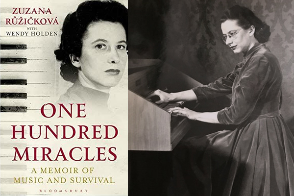 Left: Cover of One Hundred Miracles: A Memoir of Music and Survival (Bloomsbury, 2019). Right: Zuzana Ružicková plays the harpsichord. Kalabis Ružicková Fund Prague