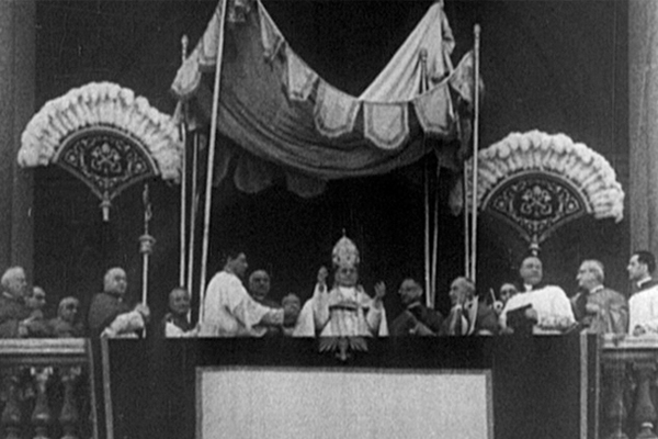 Film still from a 1939 Universal Newsreel showing Pope Pius XI on the balcony at the Basilica of Saint John Lateran in Rome. US Holocaust Memorial Museum, courtesy of National Archives