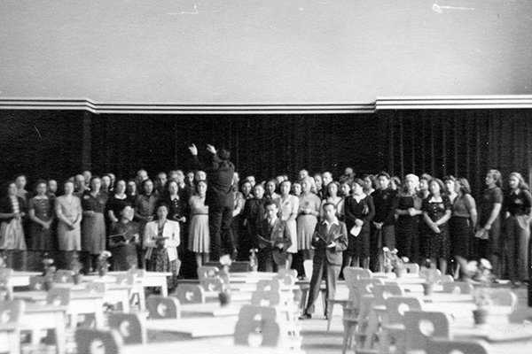 Jewish prisoners perform at Theresienstadt during the 1944 visit by the International Committee of the Red Cross. ICRC/Maurice Rossel
