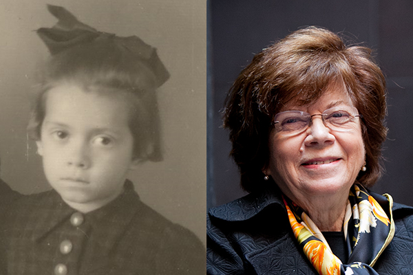 Holocaust survivor Theodora Klayman as a child in March 1943 and as an adult, today. US Holocaust Memorial Museum, gift of Theodora Klayman