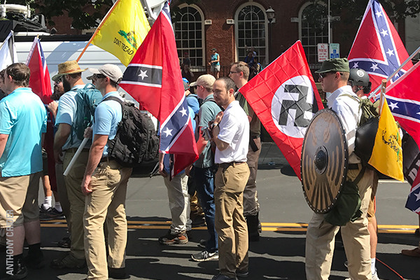 Unite the Right rally attendees prepare to enter Emancipation Park in Charlottesville, Virginia, on August 12, 2017. Anthony Crider