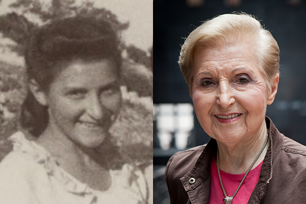 Holocaust survivor Rachel (Rae) Goldfarb as a teenager (courtesy of Rachel Goldfarb) and as an adult, today. US Holocaust Memorial Museum