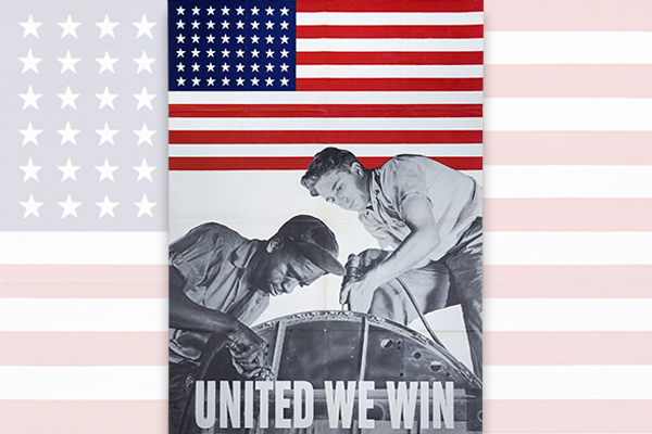 United States poster promoting the need for a desegregated workforce to support the war effort, 1943. Gift of the Crown family