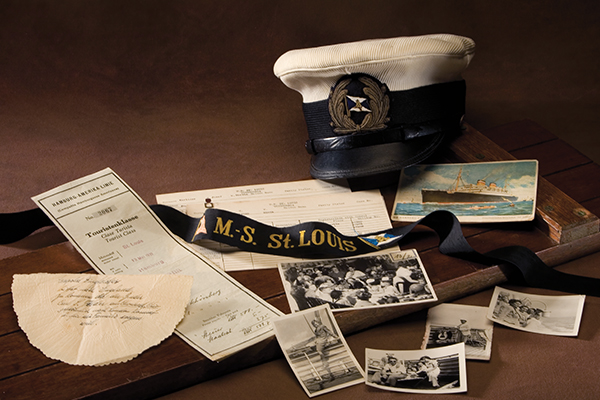 St. Louis artifacts from the Museum's collection. Gifts of Annette Gallagher, Henry Gallant, Hebrew Immigrant Aid Society, Herbert Karliner, Julie Klein, and Betty Troper Yager. US Holocaust Memorial Museum, photograph by Lisa Masson