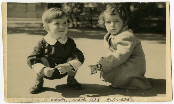 Edith Ostern and her cousin Robert Tennenbaum play on a street in Vienna in summer 1938, not long after the Anschluss—Nazi Germany's takeover of Austria. US Holocaust Memorial Museum, courtesy of Edith Oster